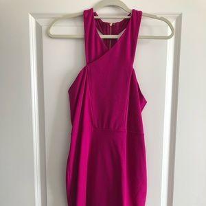 Hot pink knit dress with gold zipper